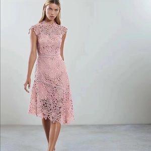 NWOT Reiss Pink Overlace Dress